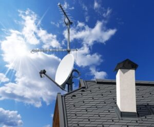 Installed dish on roof